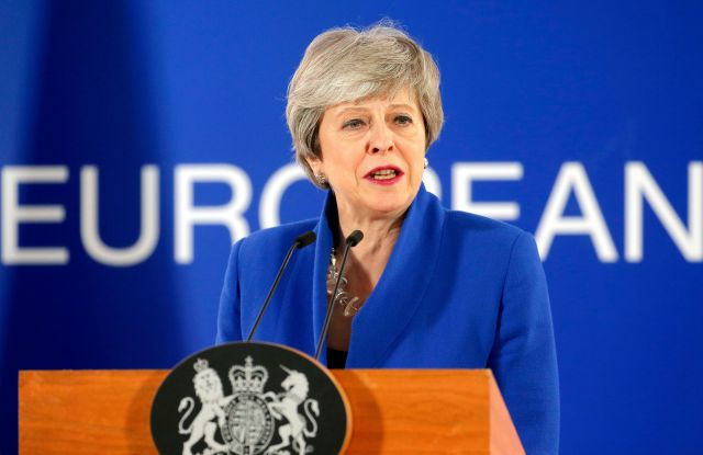 British Prime Minister Theresa May speaks at a press conference after a special EU summit on Brexit at the European Council in Brussels, Belgium, 11 April 2019. EU leaders gathered for an emergency summit in Brussels to discuss a new Brexit extension.European Council Brexit Summit, Brussels, Belgium - 11 Apr 2019