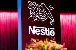 The Nestle logo is pictured during the general meeting of the world's biggest food and beverage company, Nestle Group, in Lausanne, Switzerland, 11 April 2019.Nestle general meeting in Lausanne, Switzerland - 11 Apr 2019