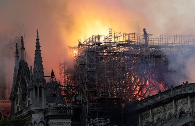 Flames on the roof of the Notre-Dame Cathedral in Paris, France, 15 April 2019. A fire started in the late afternoon in one of the most visited monuments of the French capital.Cathedral of Notre-Dame of Paris on fire, France - 15 Apr 2019