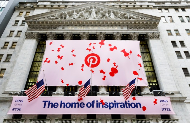 Signage on the front of the New York Stock Exchange for the initial public offering of the social media company Pinterest in New York, New York, USA, 18 April 2019.Pinterest IPO at New York Stock Exchange, USA - 18 Apr 2019