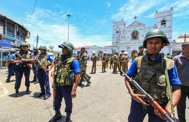 Sri Lankan Army soldiers secure the area around St. Anthony Shrine after a blast in Colombo, Sri Lanka, . More than hundred were killed and hundreds more hospitalized with injuries from eight blasts that rocked churches and hotels in and just outside of Sri Lanka's capital on Easter Sunday, officials said, the worst violence to hit the South Asian country since its civil war ended a decade agoSrl Lanka Church Blasts, Colombo, Sri Lanka - 21 Apr 2019