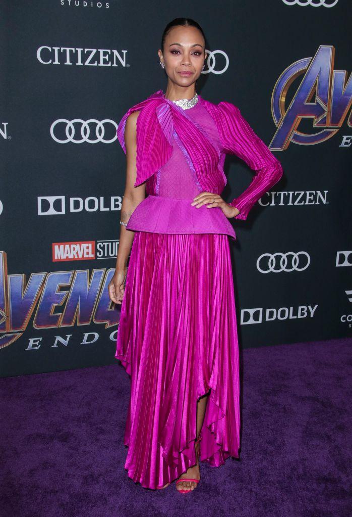 Zoe Saldana'Avengers: Endgame' Film Premiere, Arrivals, LA Convention Center, Los Angeles, USA - 22 Apr 2019Wearing Givenchy same outfit as catwalk model *10068443an