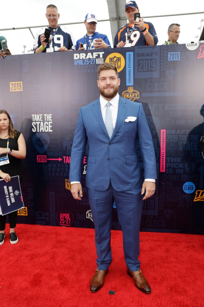 Alabama tackle Jonah Williams walks the red carpet ahead of the first round at the NFL football draft, in Nashville, TennNFL Draft Football, Nashville, USA - 25 Apr 2019