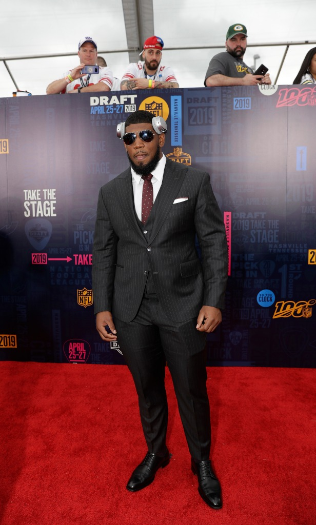 Houston defensive tackle Ed Oliver walks the red carpet ahead of the first round at the NFL football draft, in Nashville, TennNFL Draft Football, Nashville, USA - 25 Apr 2019