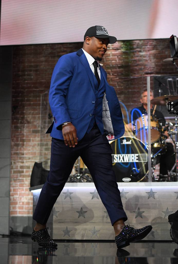 Josh Jacobs (Alabama) walks across stage after being chosen twenty forth overall during the first round of the NFL Draft in Nashville Tennessee. (Mandatory Photo Credit: Steve Roberts/CSM)NFL Draft: Round 1 :, Nashville, USA - 25 Apr 2019