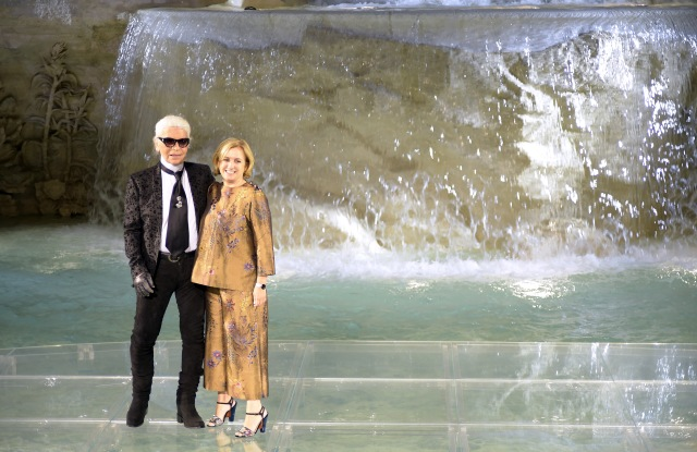 Karl Lagerfeld and Silvia Venturini Fendi on the catwalkFendi 90th anniversary catwalk show and dinner, Trevi Fountain, Rome, Italy - 07 Jul 2016