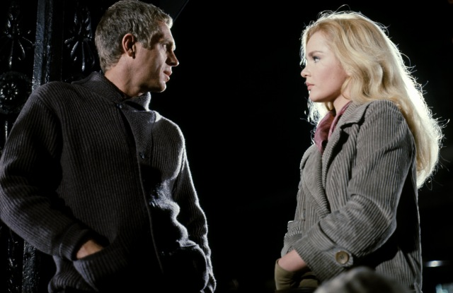 "Steve McQueen in a collared cardigan and Tuesday Weld in the 1965 drama ""The Cincinnati Kid."""