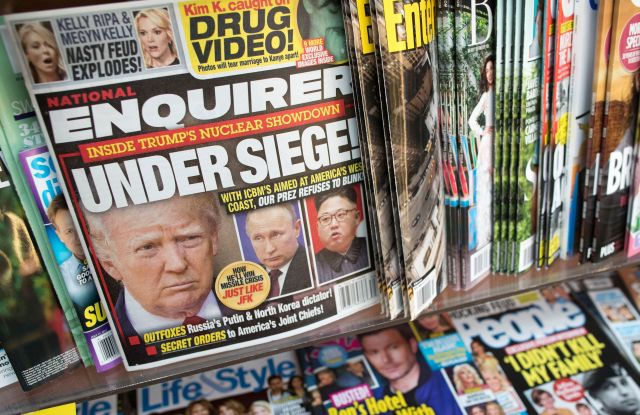 An issue of the National Enquirer featuring President Donald Trump on it's cover is seen at a store in New YorkNational Enquirer, New York, USA - 12 Jul 2017