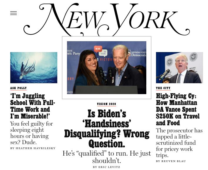 New York magazine's homepage.