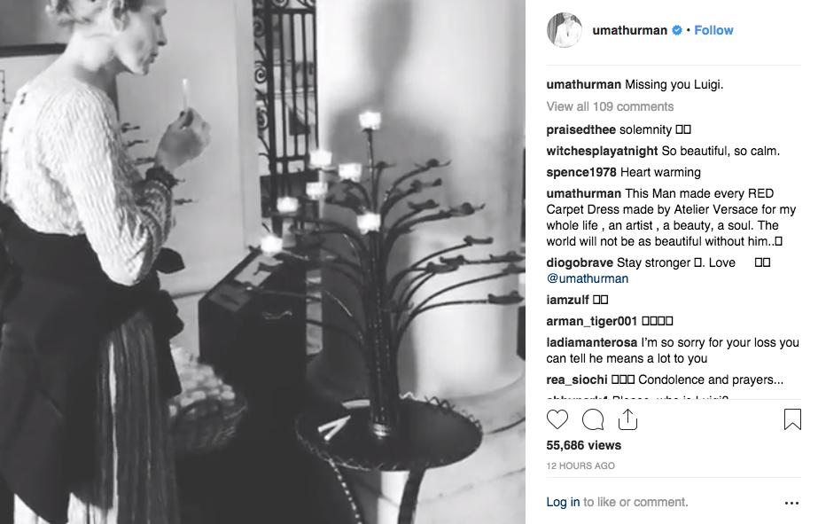Uma Thurman's post on Instagram.