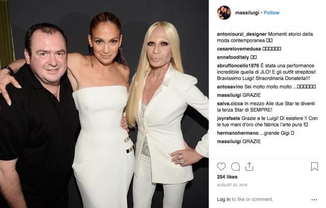 Luigi Massi, Jennifer Lopez and Donatella Versace.