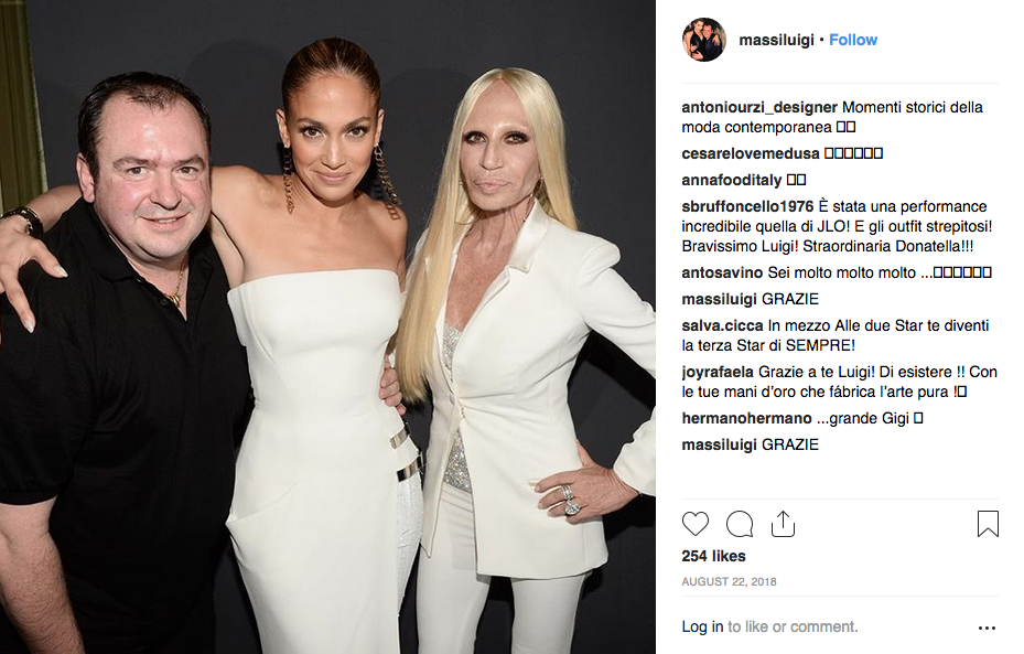 Luigi Massi, Jennifer Lopez and Donatella Versace.