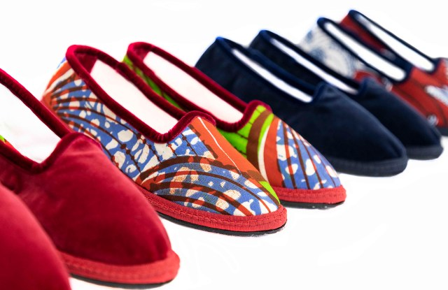 The Papusse velvet slippers created with wax printed cotton for Yoox.