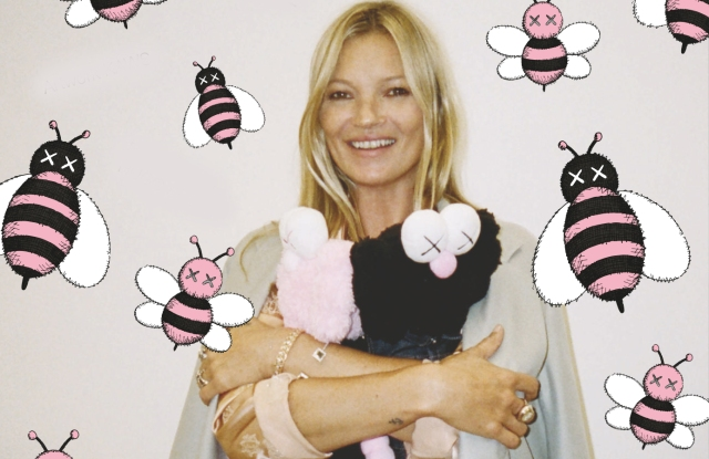 """Kate Moss appears in a photo by Hugo Scott with artwork by KAWS in """"A Magazine Curated By Kim Jones"""""""
