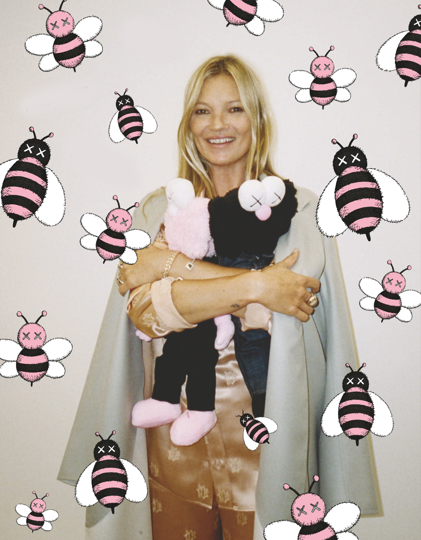 "Kate Moss appears in a photo by Hugo Scott with artwork by KAWS in ""A Magazine Curated By Kim Jones"""