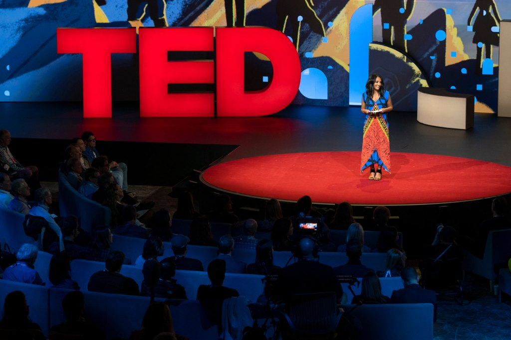 Host Anna Verghese speaks at TED2019: Bigger Than Us. April 15 - 19, 2019, Vancouver, BC, Canada. Photo: Ryan Lash / TED