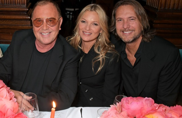 LONDON, ENGLAND  - MAY 09: (L to R) Michael Kors, Kate Moss and Lance LePere attend a private dinner hosted by Michael Kors to celebrate the new Collection Bond St Flagship Townhouse opening on May 9, 2019 in London, England. (Photo by David M. Benett/Dave Benett/Getty Images for Michael Kors)