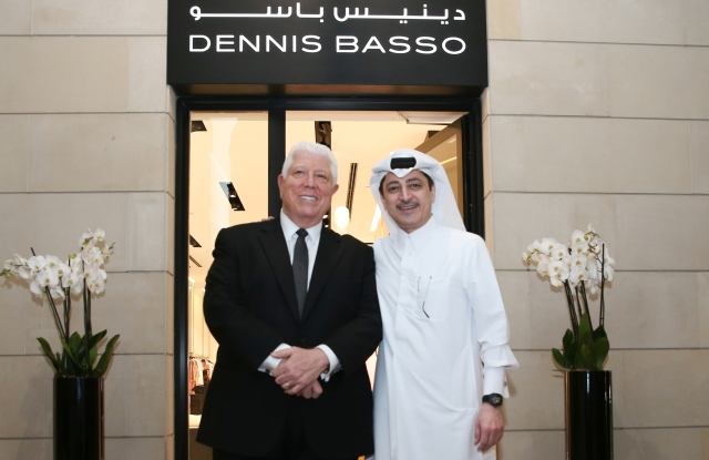 Dennis Basso and Adel Ali Bin Ali at the opening of the designer's store in Doha.