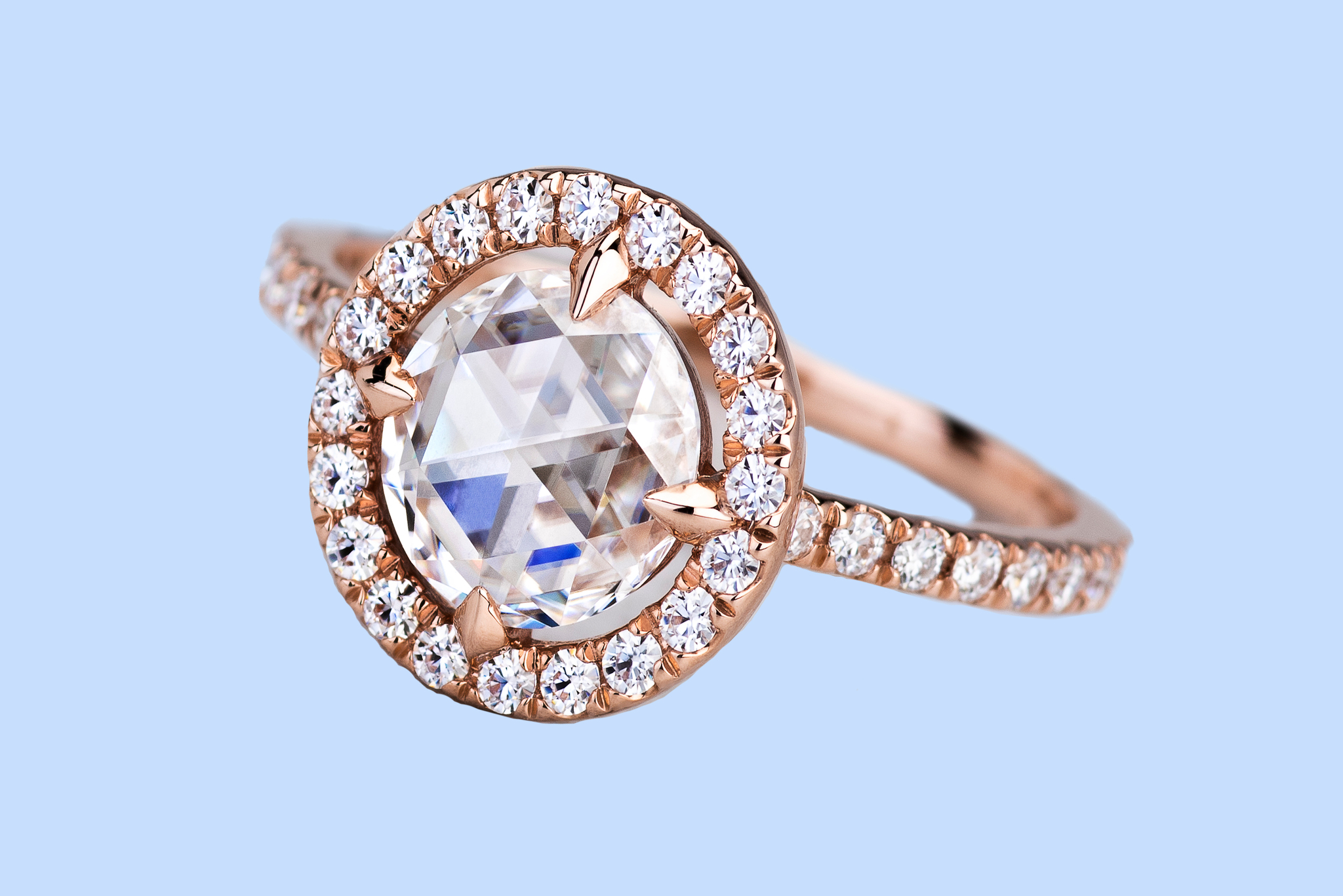 A ring with Duet Rose moissanite center stone. Charles & Colvard will unveil the new cut at the JCK Las Vegas show later this month.
