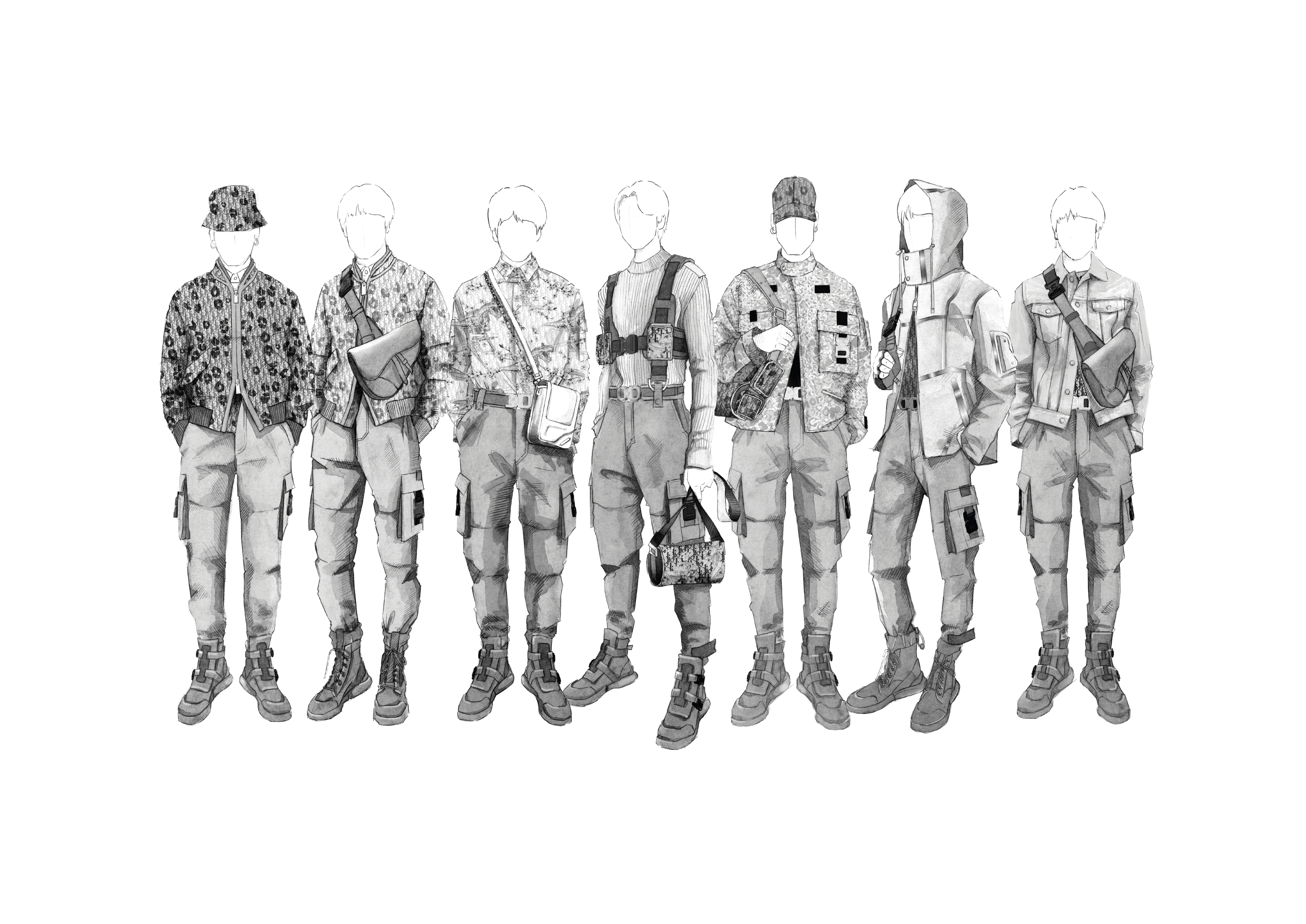 A drawing of Dior's stage outfits for BTS.