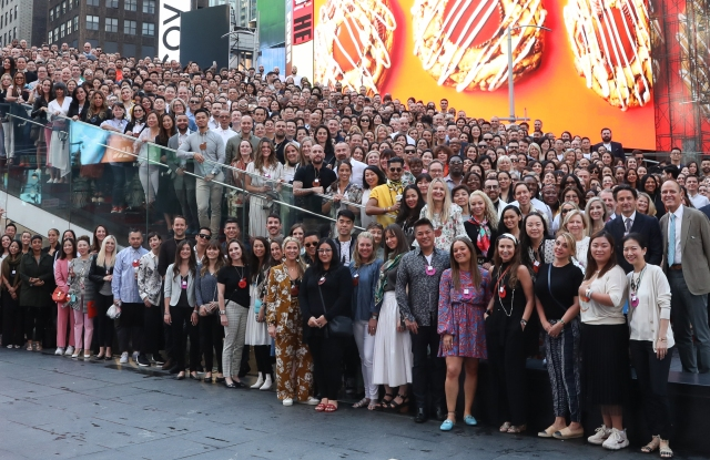 Employees of Hermes USA gathered in Times Square.