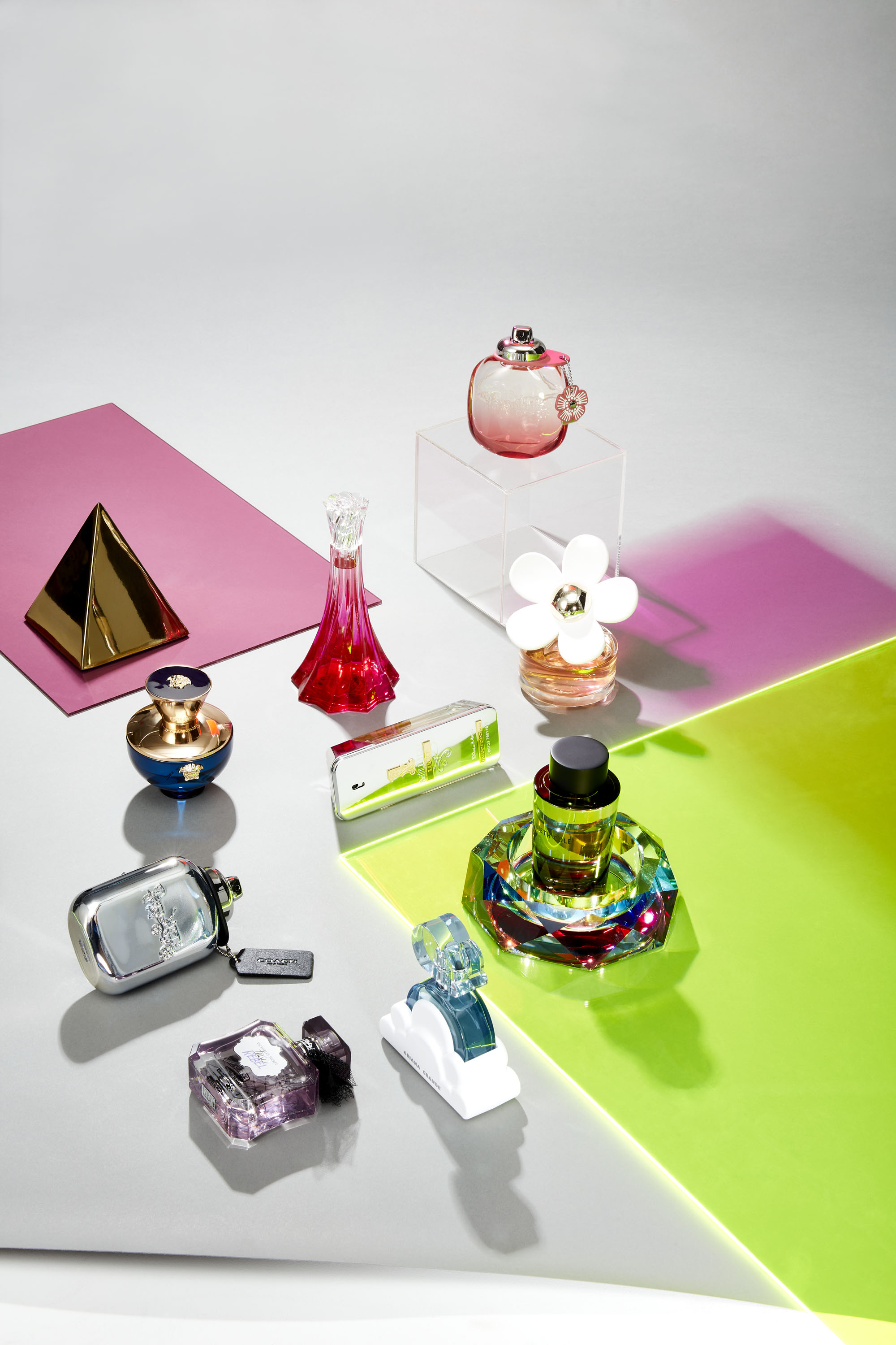 Clockwise from the top:Coach Floral; $60 for 1.0-oz.; Perfumer: Nadge Le Garlantezec, Shyamala Maisondieu and Nathalie Cetto for GivaudanMarc Jacobs Daisy Love; $104 for 3.4-oz.; Perfumer: Alberto Morillas for FirmenichKenneth Cole for Him; $85 for 3.4-oz.; Perfumer: Philippe Romano for DromAriana Grande Cloud; $60 for 3.4-oz.; Perfumer: Clement Gavarry for FirmenichVictoriaÕs Secret Tease Rebel; $68 for 3.4-oz.; Perfumer: Stephen Nilsen for GivaudanCoach Platinum; $95 for 3.3-oz.; Perfumer: Bruno Jovanovic for IFFVersace Dylan Blue Pour Femme; $120 for 3.3-oz.; Perfumer: Calice Becker for GivaudanChristian Siriano Silhouette in Bloom; $92 for 3.4-o.z; Perfumer: Honorine Blanc for FirmenichPaco Rabanne 1 Million Lucky; $90 for 3.4-oz.; Perfumer: Nathalie Cetto for Givaudan