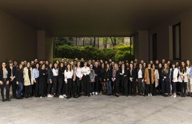Giorgio Armani with the students of Politecnico di Milano.