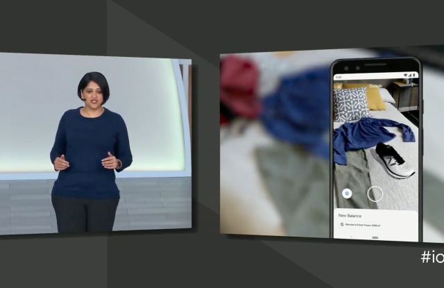 Google's Aparna Chennapragada shows off how users can search New Balance sneakers and see how they might match their clothes using AR.