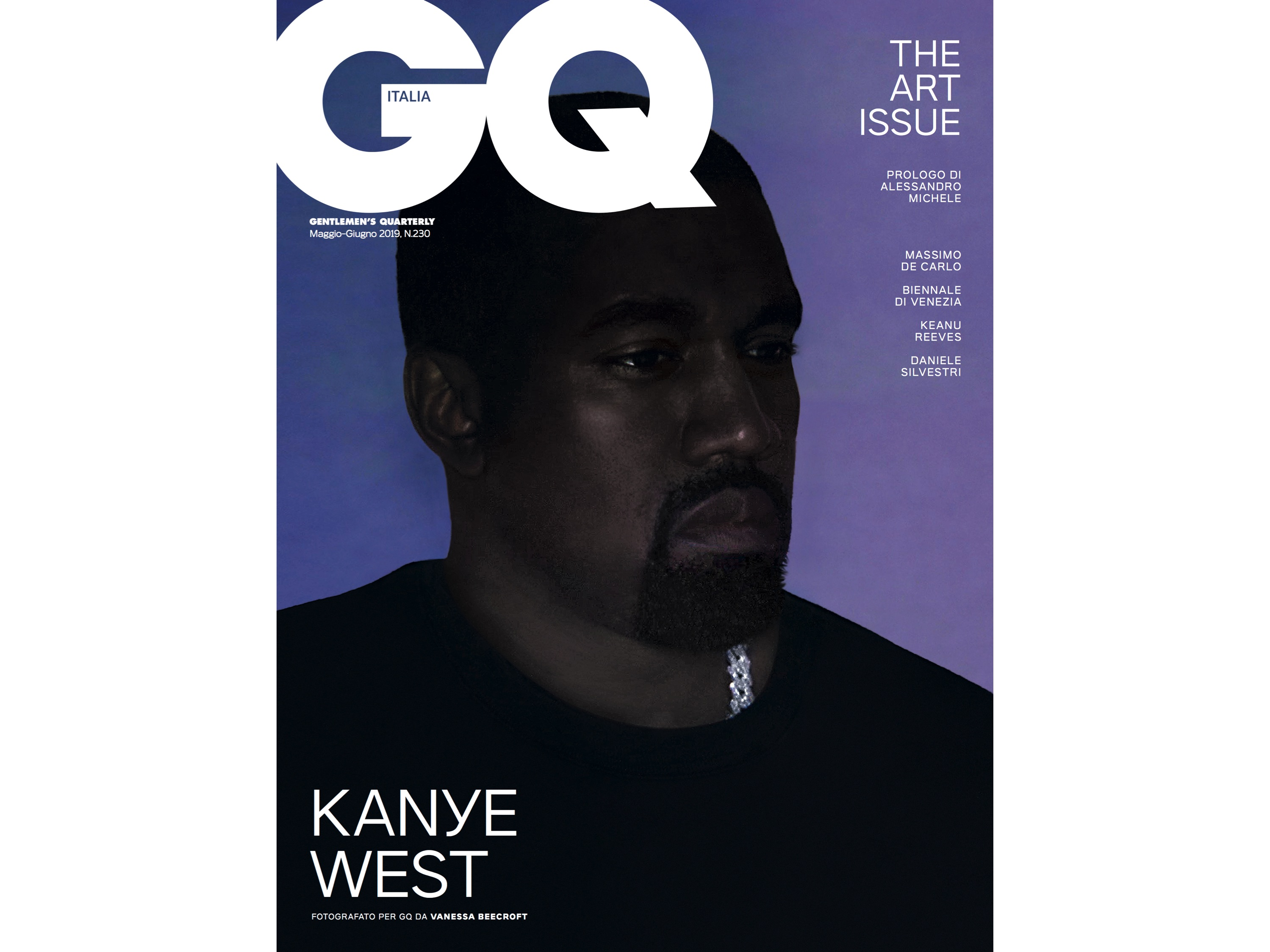 Kanye West shot by Vanessa Beecroft for GQ Italia