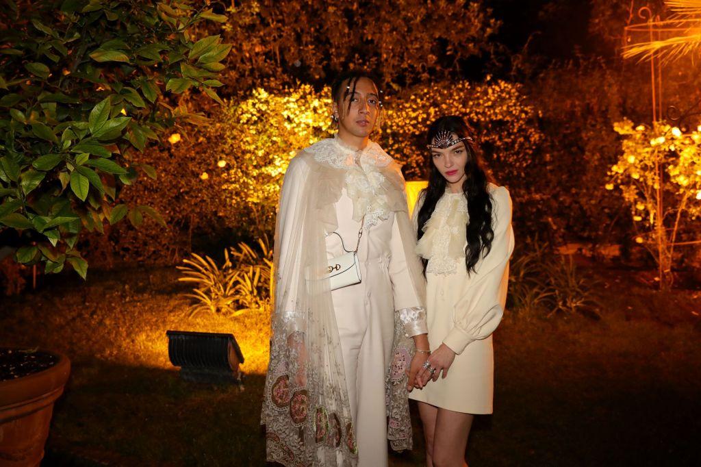 Ghali with Maria Carla Boscono at Gucci Cruise 2020.