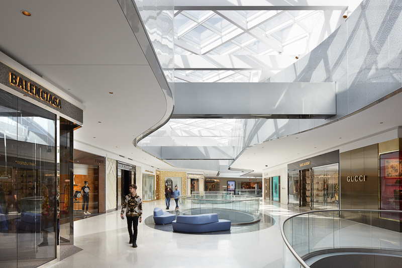 The luxury wing and skylight at the Beverly Center.