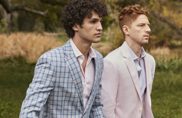 Macy's spring lookbook shows colorful tailored clothing options.