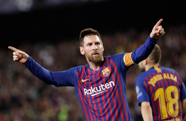 Barcelona's Lionel Messi celebrates after scoring his side's third goal during the Champions League semifinal, first leg, soccer match between FC Barcelona and Liverpool at the Camp Nou stadium in Barcelona, SpainSoccer Champions League, Barcelona, Spain - 01 May 2019