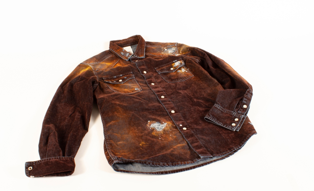 A denim shirt crafted from PG Denim's Samite fabric.
