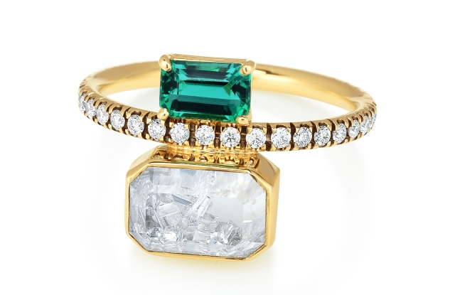 Moritz Glik diamond and emerald ring, available through Moda Operandi.