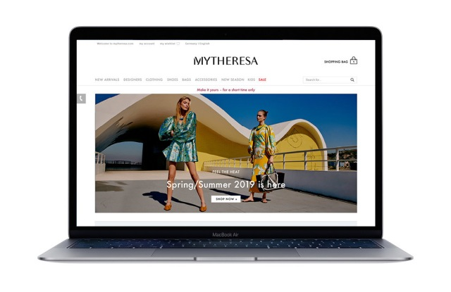 Mytheresa's home page, which will soon have a men's element.