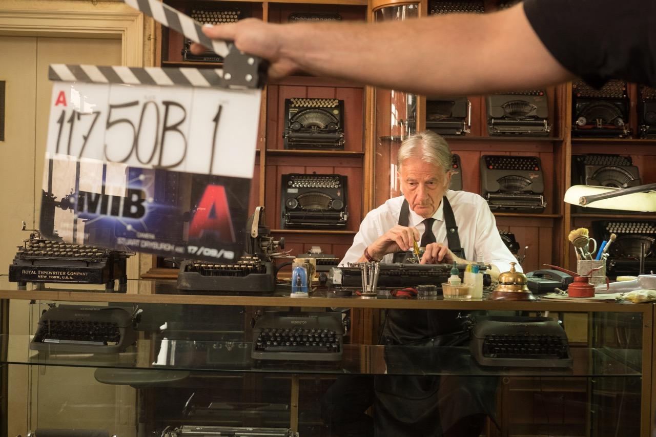 Proprietor Charlie (Paul Smith) on the set London MIB Typerwriter Repair Shop set in Langleybury House Sarrett Kings Langley for Columbia Pictures' MEN IN BLACK: INTERNATINAL.