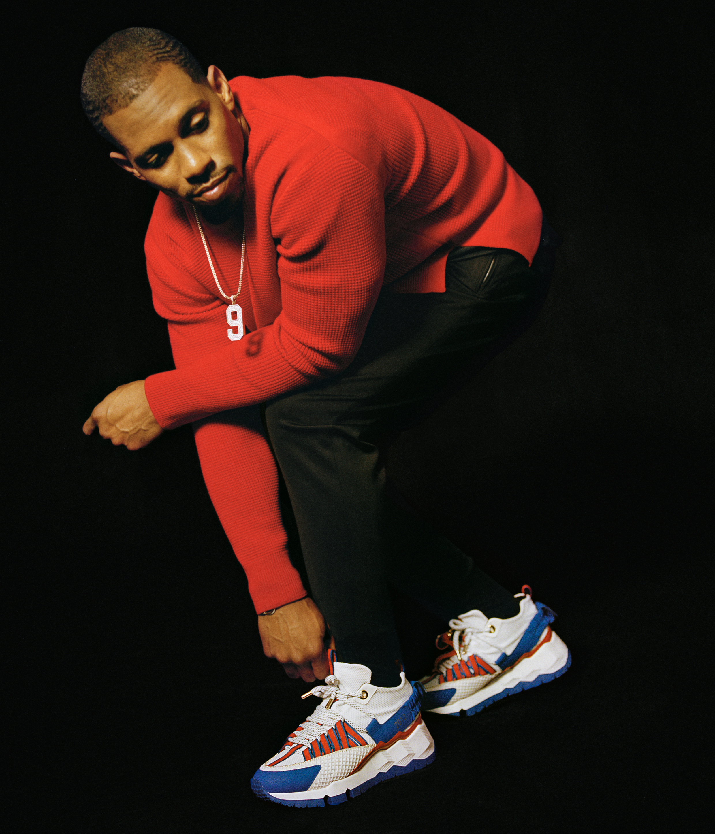 Victor Cruz in the 2012 model of his shoe with Pierre Hardy.