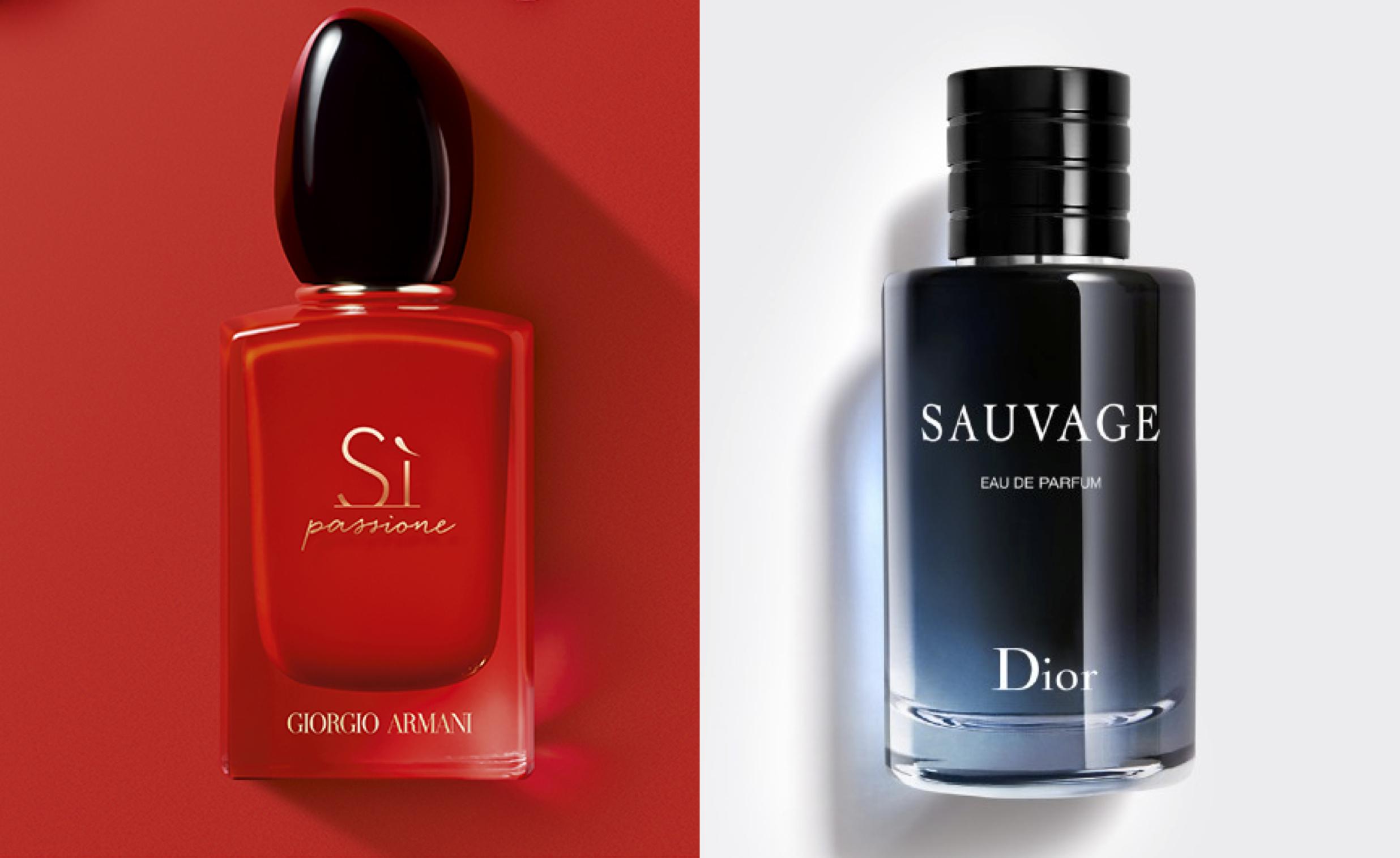 Giorgio Armani's Sì Passione and Dior Sauvage Eau de Parfum.