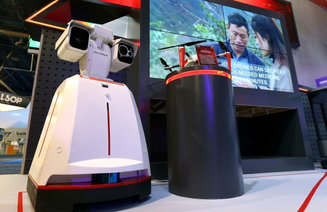 JD.com makes two different automated warehouse inspection drones, shown here at CES International, in Las VegasGadget Show, Las Vegas, USA - 08 Jan 2019