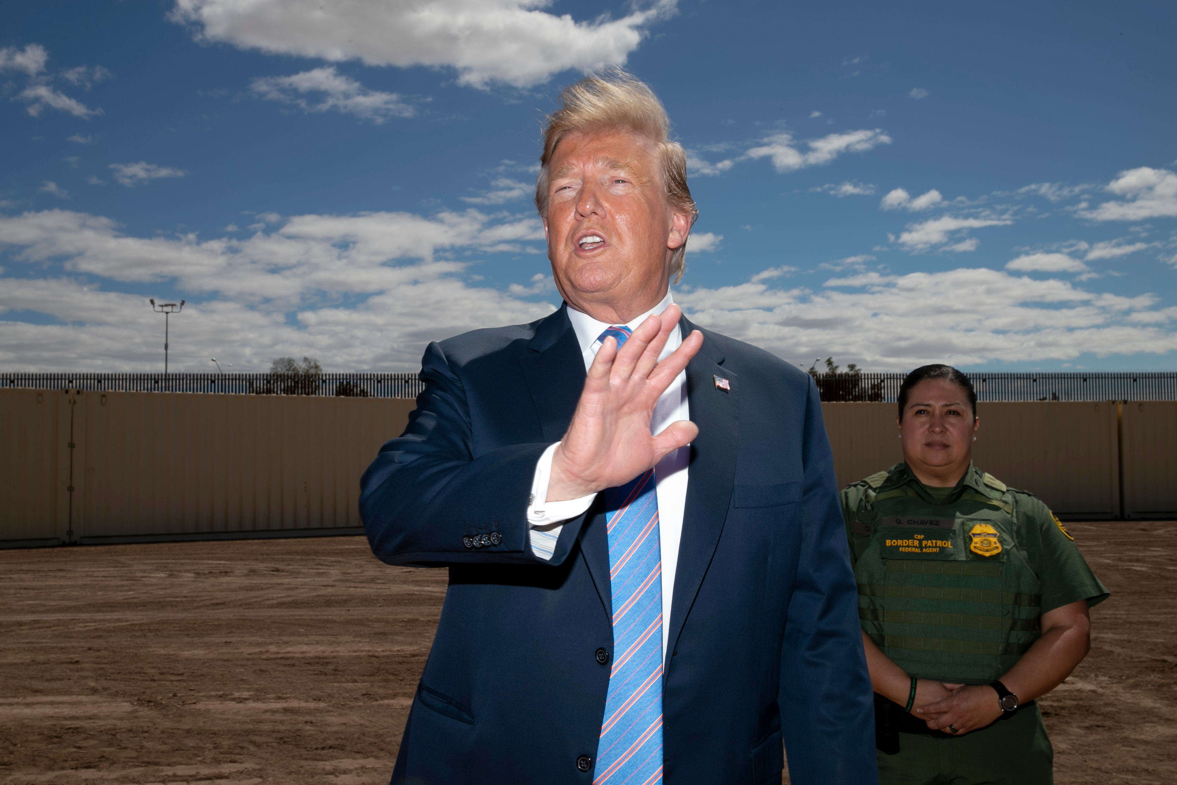 President Donald Trump speaks as he visits a new section of the border wall with Mexico in Calexico, CalifTrump, El Centro, USA - 05 Apr 2019