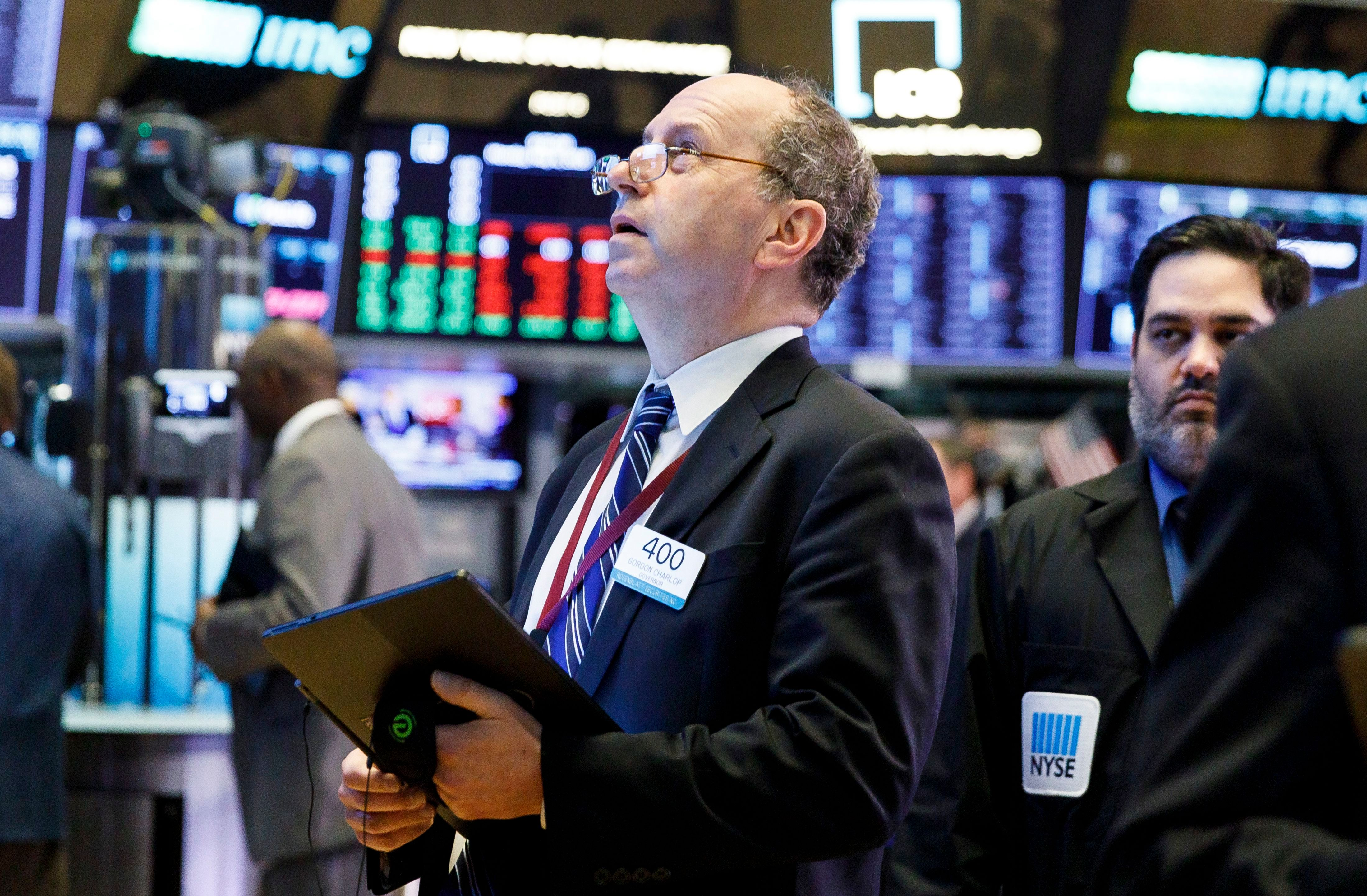 Traders work on the floor of the New York Stock Exchange in New York, New York, USA, on 06 May 2019. The Dow Jones industrials lost over 400 points in early trading in as a result of investor unease regarding developments in trade negotiations between the United States and China.New York Stock Exchange, USA - 06 May 2019