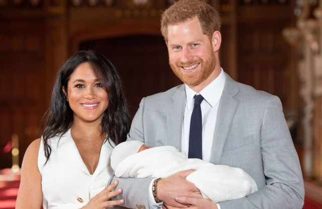 Prince Harry and Meghan Duchess of Sussex with their baby son during a photocall in St George's Hall at Windsor Castle in BerkshirePrince Harry and Meghan Duchess of Sussex new baby photocall, Windsor Castle, UK - 08 May 2019