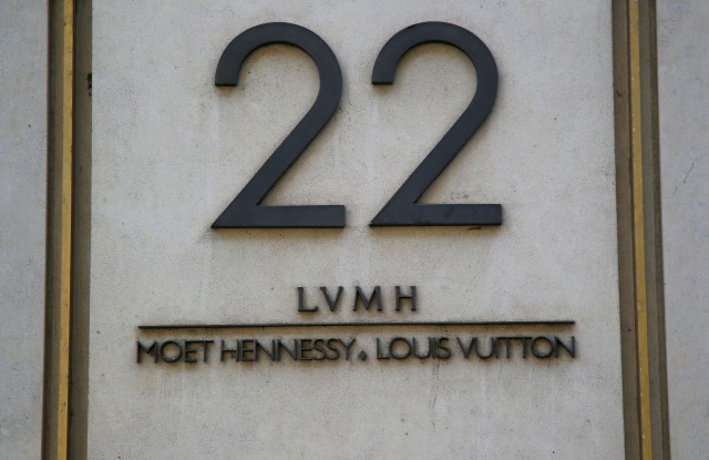 The logo is pictures of LVMH Moet Hennessy Louis Vuitton SE the world leader in luxury at the headquarters in Paris, FranceFrance LVMH, Paris, France