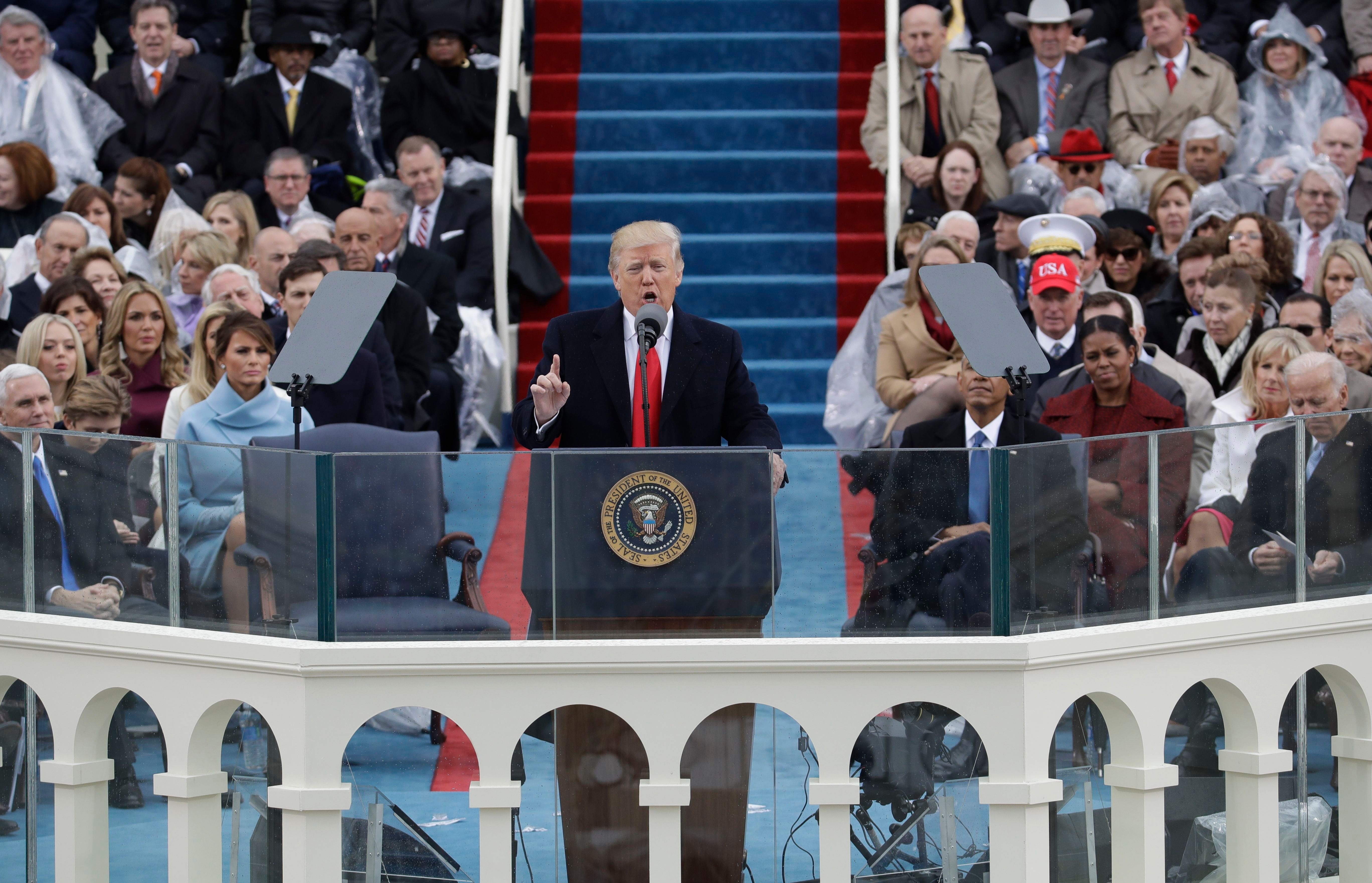 President Donald Trump delivers his inaugural address after being sworn in as the 45th president of the United States during the 58th Presidential Inauguration at the U.S. Capitol in WashingtonTrump Inauguration, Washington, USA - 20 Jan 2017