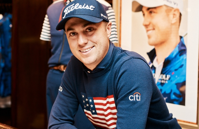 Justin Thomas in a look from his golf capsule with Polo Ralph Lauren.