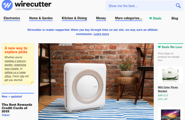 Wirecutter's homepage
