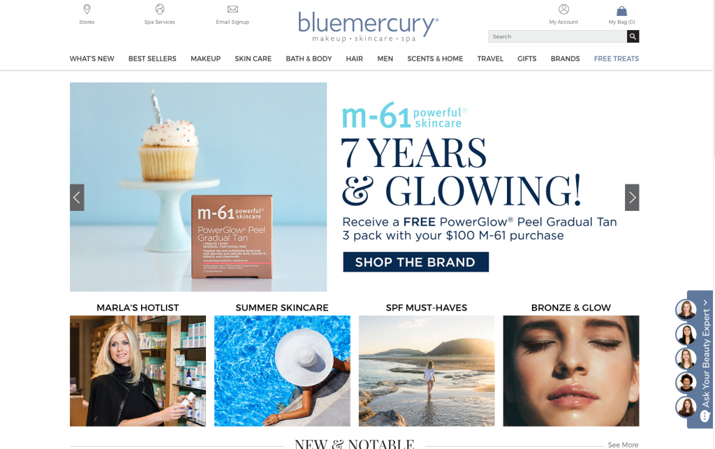 A look at Bluemercury's web site, featuring the popular Ask Your Beauty Expert tool.