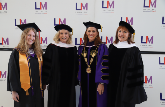 Left to right: LIM College undergraduate valedictorian Alexandra Helmer, Congresswoman Carolyn Maloney,  LIM College President Elizabeth S. Marcuse and 2019 Commencement Keynote Lauren C. Anderson.