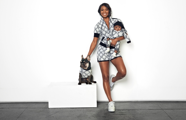 Gabrielle Union in a  look from her fashion line for New York & Co.  and daughter, Kaavia in Kaavi James for Gabrielle Union, along with dog Tre.